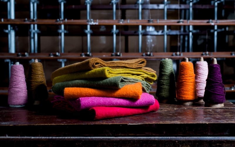 Image of colourful fabrics and yarns